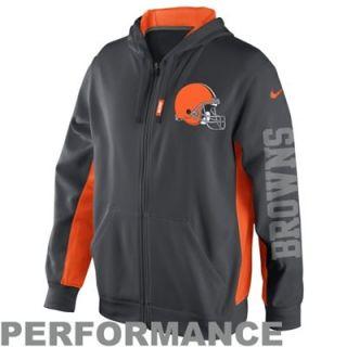 Nike Cleveland Browns KO Full Zip Performance Hoodie   Anthracite/Orange
