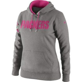 Nike Green Bay Packers Womens Breast Cancer Awareness Tailgater Pullover Hoodie Sweatshirt   Ash