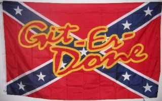 REBEL FLAG       GIT ER DONE       Confederate flag   3x5 ft : Outdoor Decorative Flags : Patio, Lawn & Garden