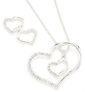 Western Edge Double Heart Jewelry Set: Jewelry