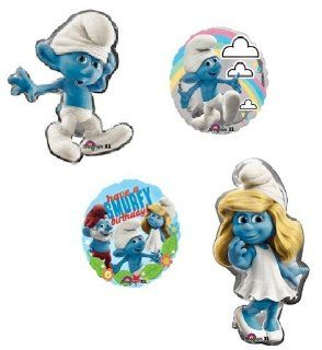 SMURF Smurfette Movie Large Figure 4 Happy Birthday Party Helium Mylar Balloons: Health & Personal Care