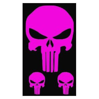 "3 PUNISHER SKULLS   (1 6"" & 2 2.5"") HOT PINK Decals   Vinyl Decal WINDOW Sticker   NOTEBOOK, LAPTOP, WALL, WINDOWS, ETC.: Automotive"