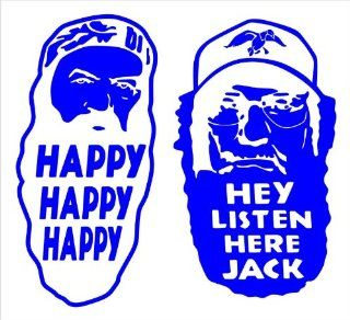 "Duck Brothers Duck Dynasty Facial Silhouettes Hey Listen Here Jack Happy Happy Happy Duck Commanders Decal Sticker Laptop, Notebook, Window, Car, Bumper, EtcStickers 6.5""x6""in. in BLUE Exterior Window Sticker with Free Shipping: Everything Else"
