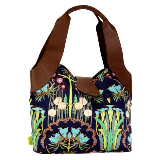 Amy Butler for Kalencom Wanderlust Collection Sweet Rose Tote Bag   Fuchsia Tree Navy   Luggage