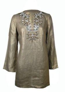 Sutton Studio Women's Metallic Linen Beaded Tunic Gold (Petite Small) [Apparel] at  Women�s Clothing store