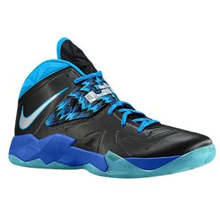 Nike Zoom Soldier VII   Mens   Basketball   Shoes   Black/Metallic Silver/Game Royal/Blue Hero