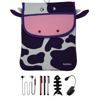 Premium 10.1 inch Cow Memory Foam Case + 3 PACK of Stylus Pen + Ebook Light + Stereo Earphone w/mic and Fishbone holder for Asus Transformer TF 201 Prime tablet: Electronics