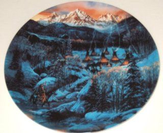 "The Bradford Exchange Fifth Issue in THE FACES OF NATURE Collection ""TWO BEARS CAMP"" by Julie Kramer Cole and Issued on W.S. George Fine China   Limited Edition Decorative Plate Native American Design"