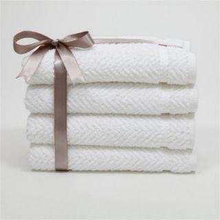 Luxury Hotel & Spa Herringbone Weave 100%Turkish Cotton Hand Towels   Set of 4   Bath Towels