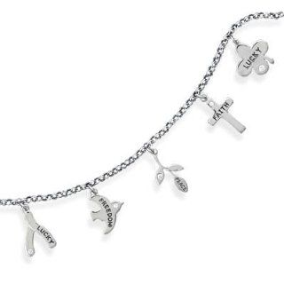 "22958 7"" rhodium plated inspirational charm bracelet. The bracelet features the following 5 charms with CZs   ""Lucky"" on wishbone charm, ""Freedom"" on dove charm, ""Peace"" on rose charm, ""Faith"" on cross charm and"