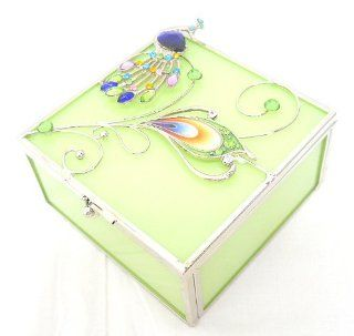 Welforth Peacock Design Glass Jewelry Trinket Box