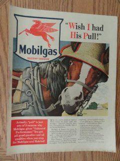 "Mobilgas Socony vacuum, Vintage 40's full page print ad. Color Illustration by Ronald McLeod (""Wish I had his pull"")Original vintage 1940 Collier's Magazine Print Art."