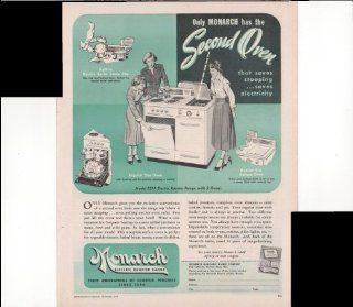 Monarch Electric Roaster Range Only Monarch Has The Second Oven That Saves Stooping Saves Electricity 1948 Vintage Antique Advertisement : Prints : Everything Else