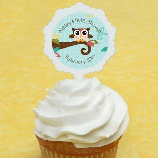 Owl   Look Whooo's Having A Baby   12 Cupcake Picks & 24 Personalized Stickers   Baby Shower Cupcake Toppers: Toys & Games