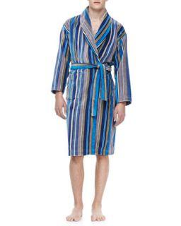 Mens Terry Cloth Robe, Blue   Derek Rose   Blue (MEDIUM)