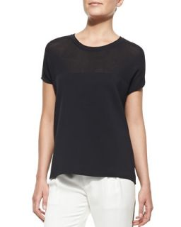 Womens Nicola Mix Fabric Easy Tee   Rag & Bone   Midnight (SMALL)