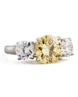 Triple Stone Cubic Zirconia Ring, Canary/Clear   Fantasia by DeSerio