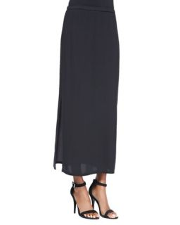 Womens Long Straight Skirt with Side Slit   Eileen Fisher   Black (X LARGE