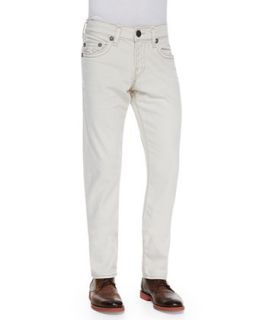 Mens Ricky Natural Straight Leg Jeans, Ivory Bone   True Religion   Ivory/Bone