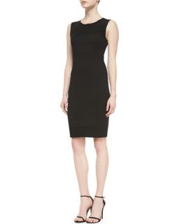 Womens Milano Pique Knit Dress With Crepe Marocain Panels   St. John