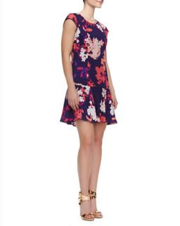 Womens Cap Sleeve Floral Print Dress, Dark Violet   Ali Ro   Dark violet (10)