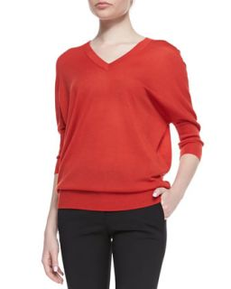 Womens Knit Batwing Sweater   Derek Lam   Citrus red (MEDIUM)