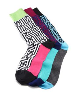 Mens Maze Socks, 3 Pack   Arthur George by Robert Kardashian   Multi