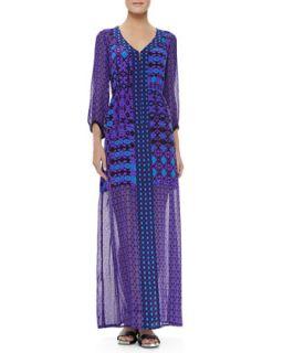 Womens Sheer Sleeve/Skirt Dress, Violet Multicolor   Nanette Lepore   Violet