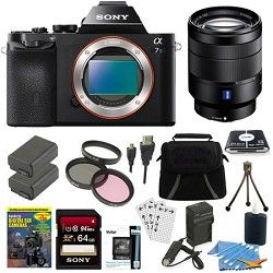 Sony ILCE 7S/B a7S Full Frame Camera, 24 70mm Lens, 64GB SDXC Card, 2 Battery Bu