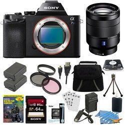 Sony ILCE 7S/B a7S Full Frame Camera, 24 70mm Lens, 64GB SDXC Card, 2 Battery Bu