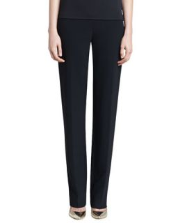 Womens Crepe Marocain Straight Leg Diana Pants   St. John Collection   Caviar