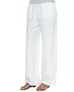 Womens Silk Palazzo Pants   Minnie Rose   White (MEDIUM 8 10)