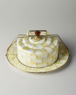 Parchment Check Cake Carrier   MacKenzie Childs