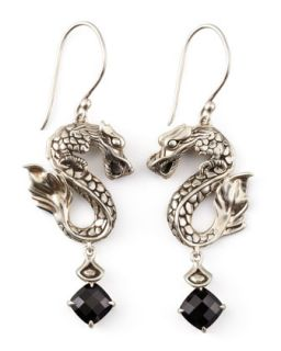 Naga Batu Drop Earrings, Black Chalcedony   John Hardy   Silver