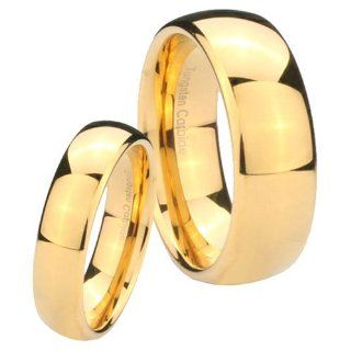 2 pcs His Her's Tungsten Carbide 14K Gold IP Dome Wedding Ring Set Size:4, 7: Jewelry