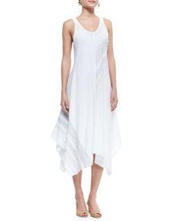 Womens Sleeveless V Neck Asymmetric Dress, White   Eileen Fisher   White (M