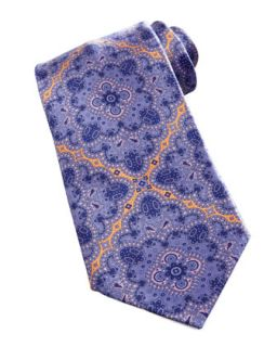 Mens Large Medallion Silk Tie, Purple   Stefano Ricci   Purple