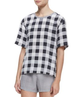 Womens Logan Contrast Collar Check Top   Equipment   Black (MEDIUM/6)