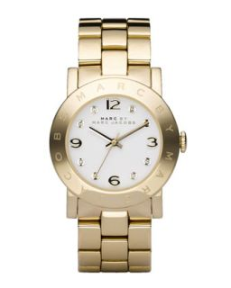 Amy Crystal Analog Watch with Bracelet, Yellow Golden   MARC by Marc Jacobs