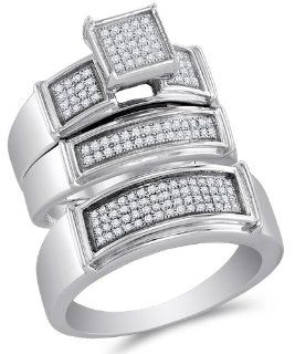 ".925 Sterling Silver Plated in White Gold Rhodium Diamond His & Hers Trio 3 Three Ring Bridal Matching Engagement Wedding Ring Band Set   Square Shape Center Setting w/ Micro Pave Set Round Diamonds   (2/5 cttw)   SEE ""PRODUCT DESCRIPTION"" TO"