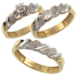 10k Gold 3 Pc. Trio His (5mm) & Hers (5mm) Diamond Wedding Ring Band Set, w/ 0.20 Carat Brilliant Cut Diamonds (Men's Sizes 8 to 14), Ladies' Size 7: Jewelry