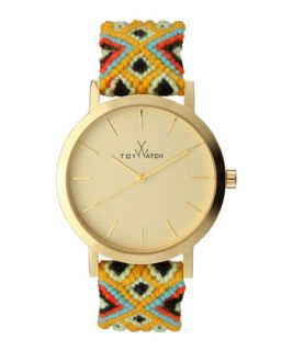 Maya Yellow Golden Watch with Crochet Band, Yellow/Multi   Toy Watch   Yellow