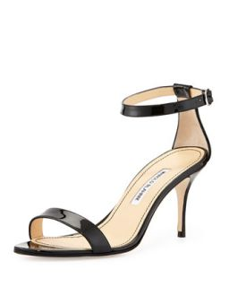 Chaos Patent Leather Naked Sandal, Black   Manolo Blahnik   Black (10B)