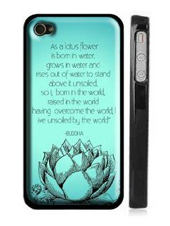 "Blue Lotus and Buddha Quote iPhone 4, 4s Case  ""As a lotus flower is born in water, grows in water and rises out of water to stand above it unsoiled, so I, born in the world, raised in the world having overcome the world, live unsoiled by the world&qu"
