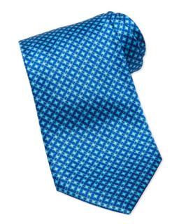 Mens Micro Square Silk Tie, Blue   Stefano Ricci   Blue