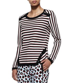 Womens Stripe Knit Long Sleeve Pullover   Veronica Beard   Black/White/Red (2)