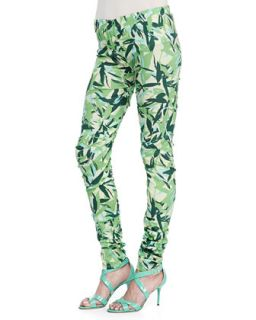 Womens Brooke Leaves Printed Leggings   Elle Sasson   Green leaves (38 (US 4))
