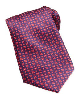 Mens Windowpane/Floral Pattern Silk Tie, Red   Stefano Ricci   Red 1