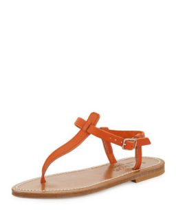 Picon Leather Thong Sandal, Soft Orange   K. Jacques   Soft orange (35.0B/5.0B)
