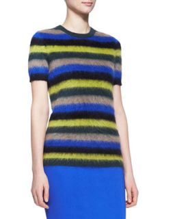 Womens Striped Mohair Short Sleeve Sweater   No.21   Royal blue (40/4)